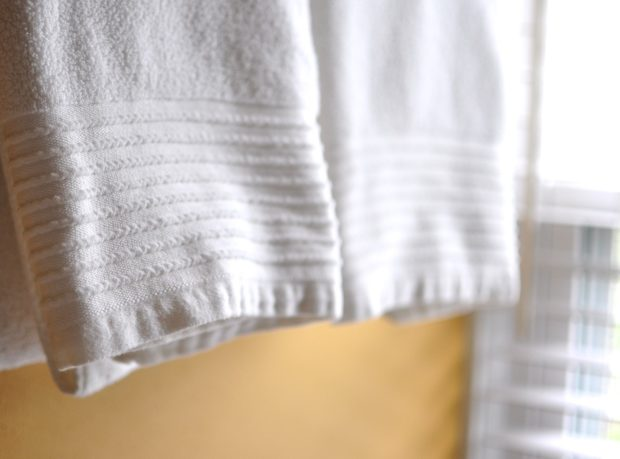 Towels hanging from the towel rack