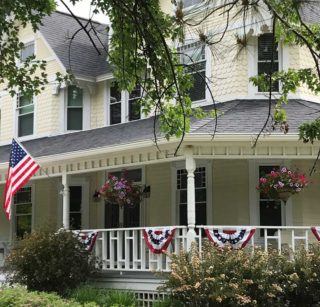The outside of the bed and breakfast on fourth of july